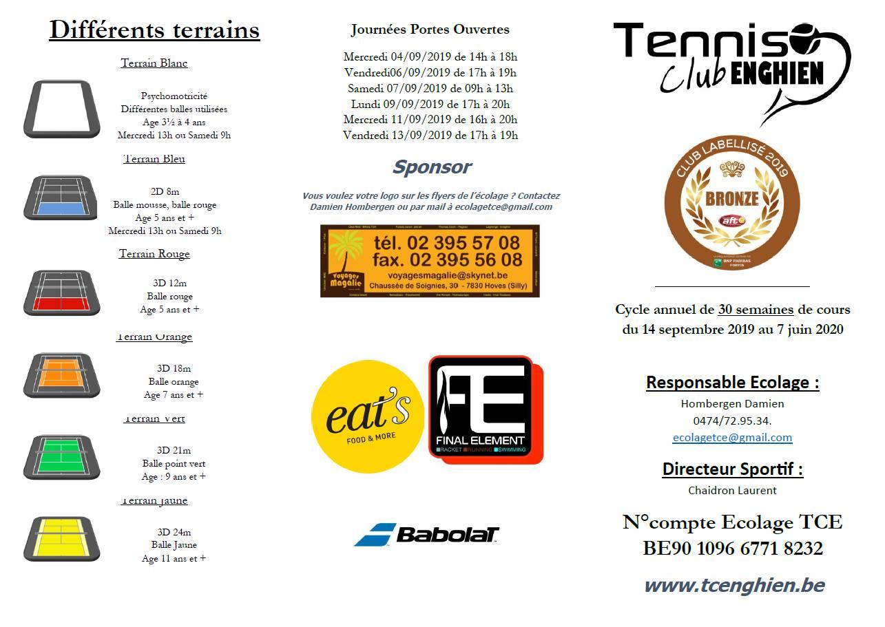 Tennis Enghien Ecolage 2019-2020